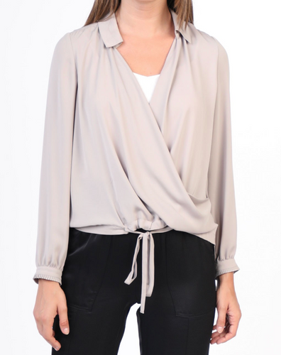Ceressa Wrap Top in Taupe