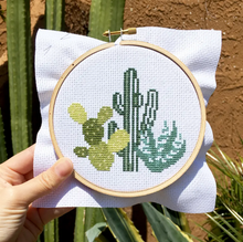 Load image into Gallery viewer, Desert Cacti DIY Cross Stitch Kit