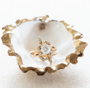 Gold Gilded Oyster Ring Dish
