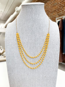 Yellow Crystal Beaded Necklace in Gold