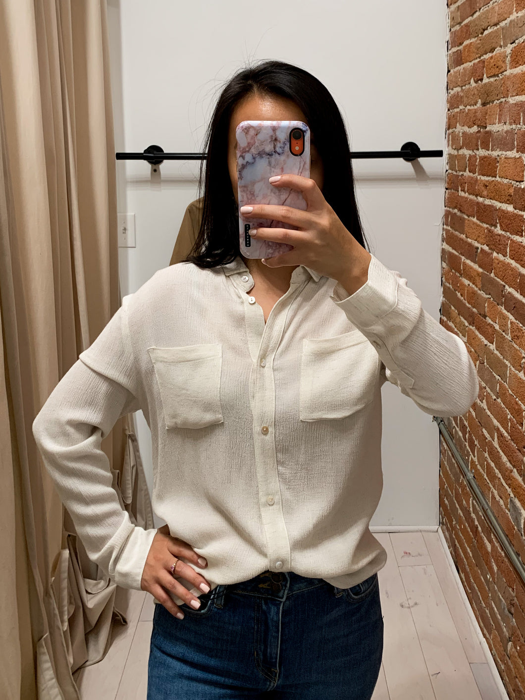 Samantha Button back Long Sleeve Shirt in Ivory
