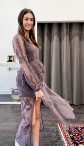 Camellia Lace Maxi Dress in Midnight Plum