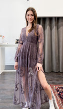 Load image into Gallery viewer, Camellia Lace Maxi Dress in Midnight Plum