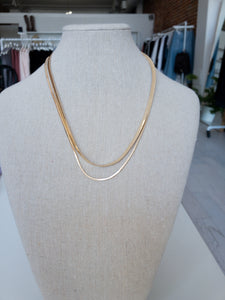 Matty Double Layered Snake Chain Necklace in Gold