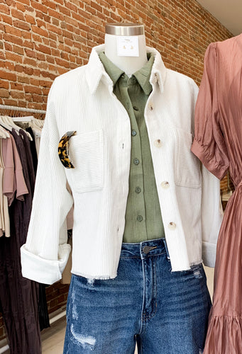 Keira Cropped Corduroy Jacket in Off-White