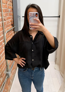 Karen Front Tie Button Up Shirt in Black