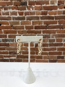 Lombard Rope Hoop Earrings in Gold