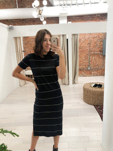 Bellows Dress in Black with Cream Stripes