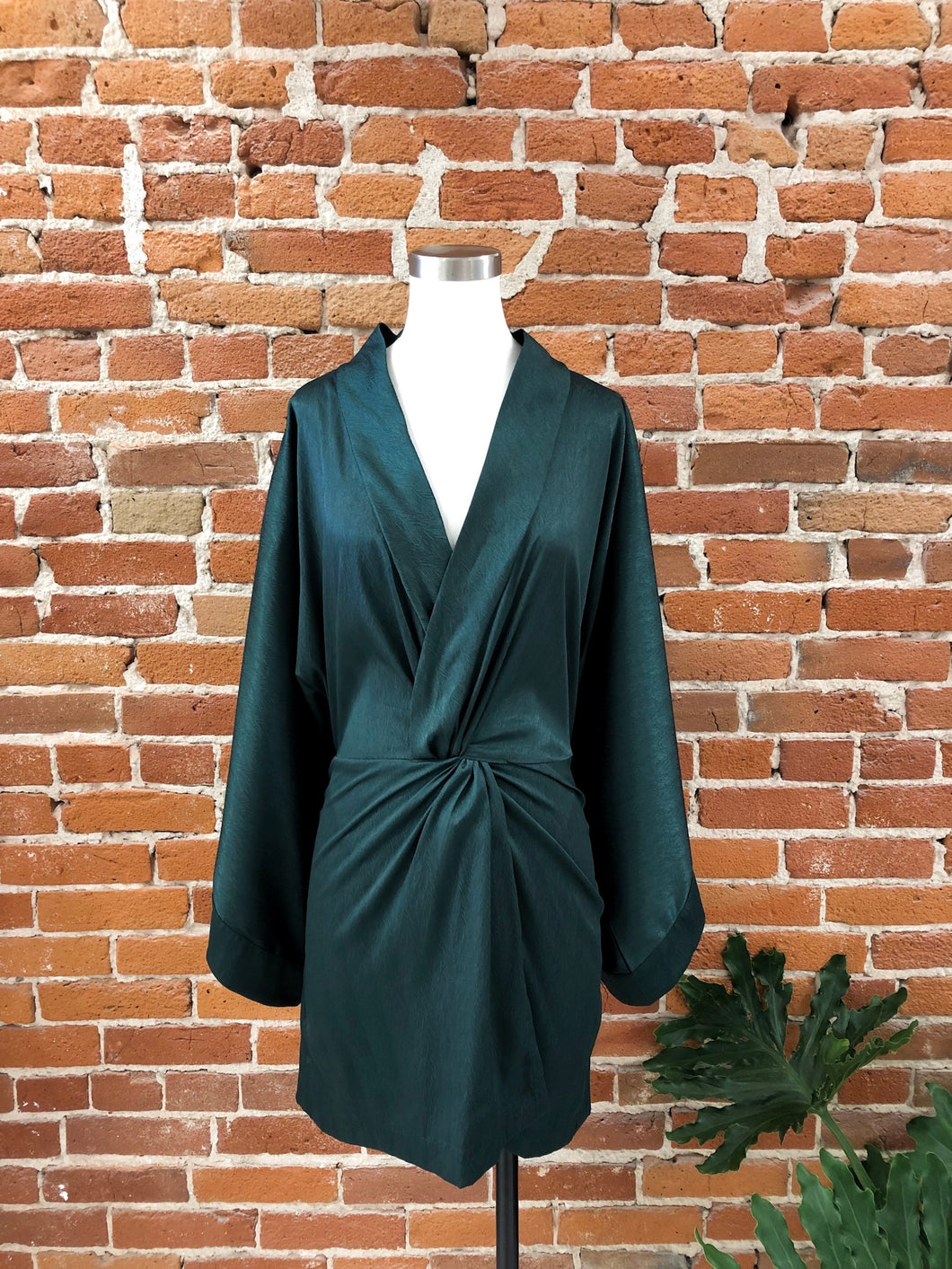 Mariana Deep-V Dress in Hunter Green