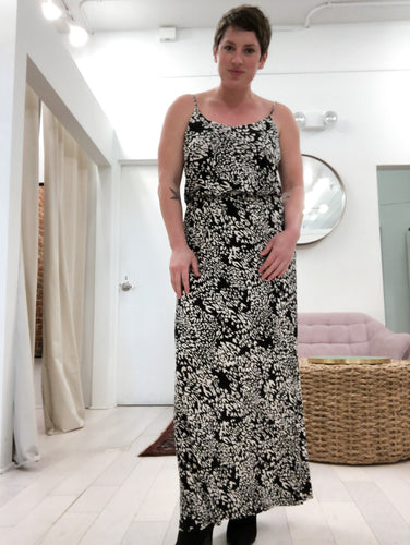 Miriam Maxi Dress in Black & White