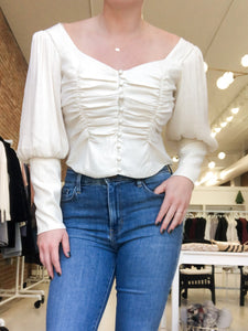 Renaissance Puff Sleeve Top in Cream - FINAL SALE