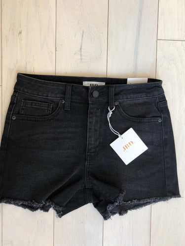 Sunny High Rise Shorts with Frayed Hem in Washed Black
