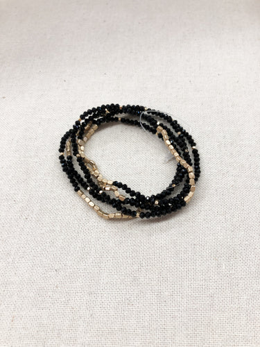 Myles 5 Row Bracelet in Black