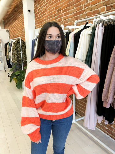 Candy Sweater in Coral Stripe