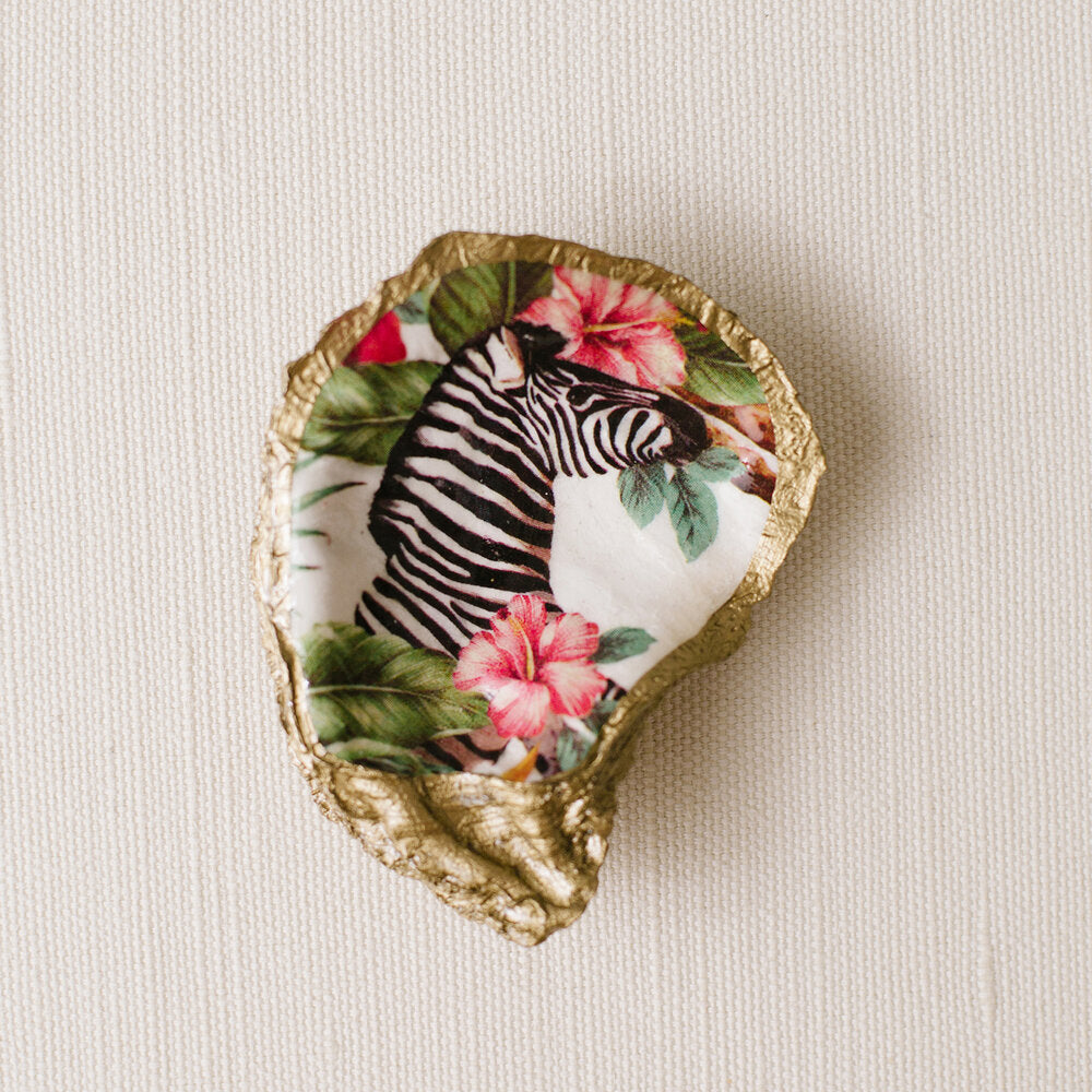 Tropical Decoupage Oyster Ring Dish - Zebra