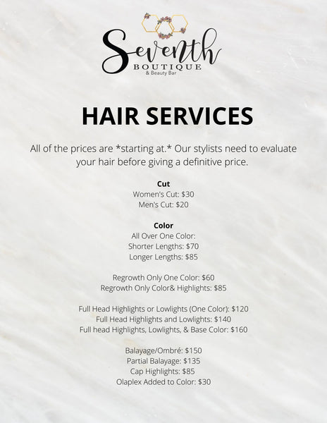 Hair Styling and Coloring Services and Pricing