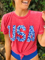 USA Cheetah Burn Out Tee