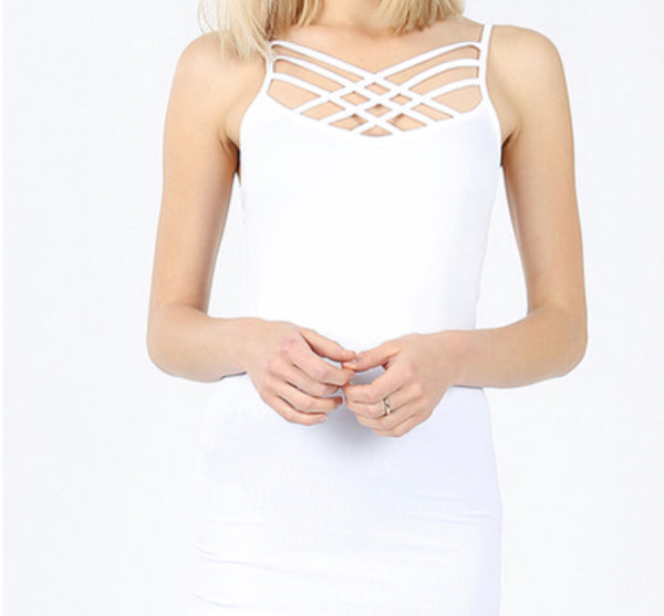 Triple Criss Cross Cami, White
