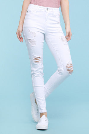 Judy Blue White Ankle Fray Destroyed Skinny