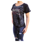 Kool Deadwood Nites Midnight Logo Women's Front-Tie Raglan T-Shirt
