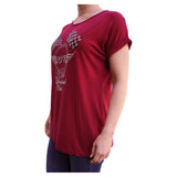 Checkered & American Flag Cuffed-Sleeve Relaxed Women's Burgundy T-Shirt