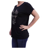 Checkered & American Flag Cuffed-Sleeve Relaxed Women's Black T-Shirt