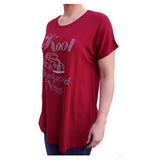 Kool Deadwood Hot Rod Rhinestone Burgundy Oversized Women's Blouse