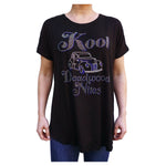 Kool Deadwood Hot Rod Rhinestone Black Oversized Women's Blouse