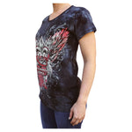 Fleur de Lis & Roses Kool Deadwood Nites Midnight Draped Raglan T-Shirt