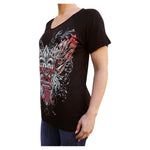 Fleur de Lis & Roses Kool Deadwood Nites Black Draped Raglan T-Shirt