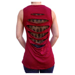 Winged Hot Rod Kool Deadwood Nites Burgundy Open Laced Back Sleeveless Top