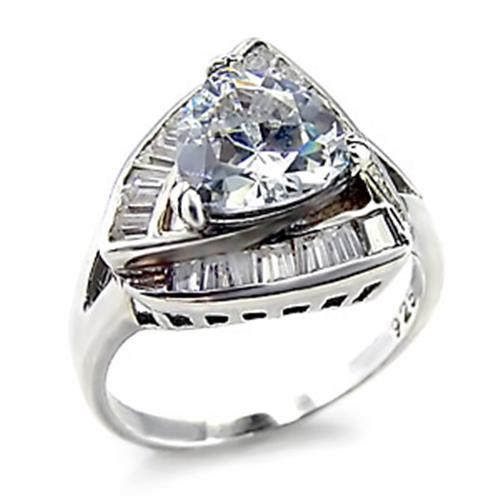 00201 High-Polished 925 Sterling Silver Ring with AAA Grade CZ in Clear