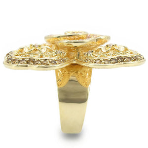 0W312 - Gold Brass Ring with AAA Grade CZ  in Multi Color