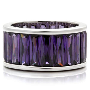 0W128 - Rhodium Brass Ring with AAA Grade CZ  in Amethyst