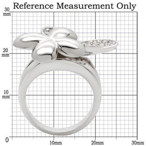 0W147 - Rhodium Brass Ring with AAA Grade CZ  in Clear