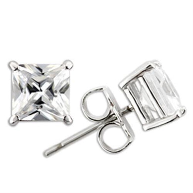 0W160 - Rhodium 925 Sterling Silver Earrings with AAA Grade CZ  in Clear
