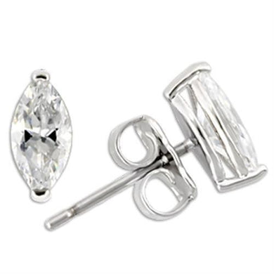 0W167 - Rhodium 925 Sterling Silver Earrings with AAA Grade CZ  in Clear