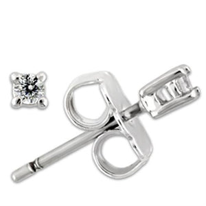 0W168 - Rhodium 925 Sterling Silver Earrings with AAA Grade CZ  in Clear
