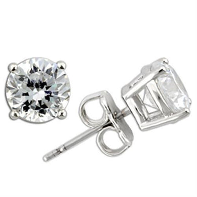 0W173 - Rhodium 925 Sterling Silver Earrings with AAA Grade CZ  in Clear