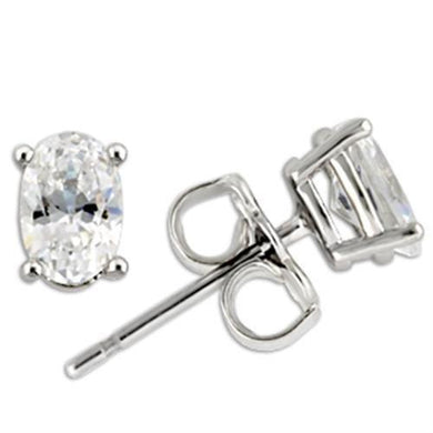 0W174 - Rhodium 925 Sterling Silver Earrings with AAA Grade CZ  in Clear