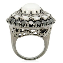 Load image into Gallery viewer, 0W213 - Ruthenium Brass Ring with Milky CZ  in White