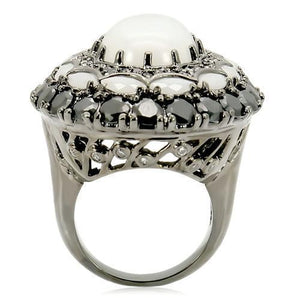 0W213 - Ruthenium Brass Ring with Milky CZ  in White