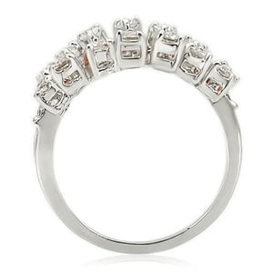 0W241 - Rhodium Brass Ring with AAA Grade CZ  in Clear
