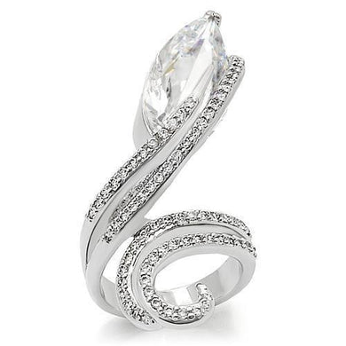 0W253 - Rhodium Brass Ring with AAA Grade CZ  in Clear