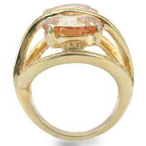 0W314 - Gold Brass Ring with AAA Grade CZ  in Champagne