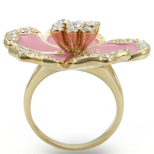 0W376 - Gold Brass Ring with Top Grade Crystal  in Clear
