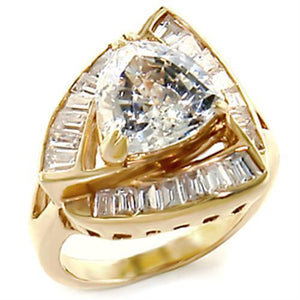 10529 - Gold Brass Ring with AAA Grade CZ  in Clear