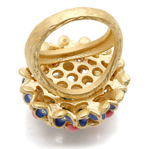 1W106 - Gold Brass Ring with Semi-Precious Coral in Rose