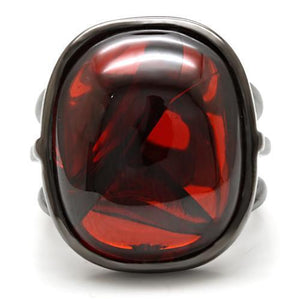 1W100 - Ruthenium Brass Ring with AAA Grade CZ  in Garnet