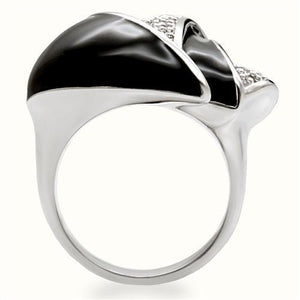 1W105 - Rhodium Brass Ring with AAA Grade CZ  in Clear
